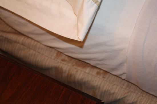 Red Roof Inn Staunton: Stains on bed skirt