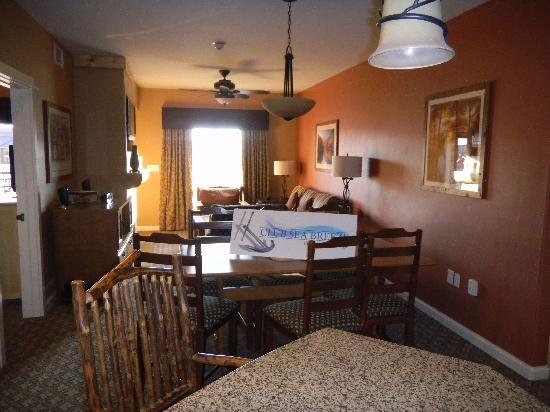 Wyndham Vacation Resorts: the Dining Room and Living room area, taken from the kitchen