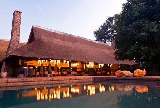 South Luangwa National Park, Zambia: The newly refurbished Mfuwe Lodge - main area and swimming pool, South Luangwa, Zambia
