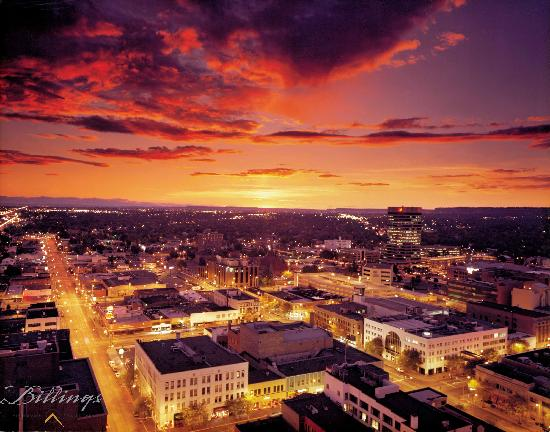 Downtown Billings at sunset - from the Billings Convention & Visitors Bureau