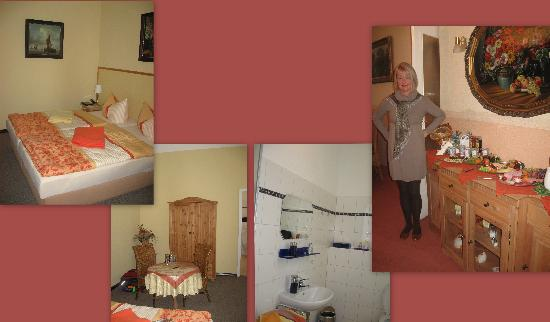 Pension Galerie: a collage of the room with the owner...