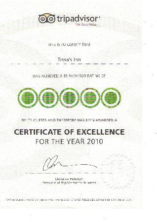 Tissa's Inn: CERTIFICATE OF EXCELLENCE FOR THE YEAR 2010