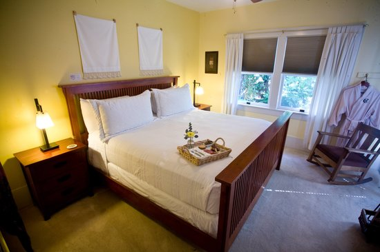 The Cooper House Bed & Breakfast Inn: The Chardonnay Deluxe Room king bed with private courtyard and deck