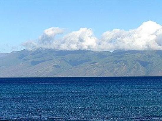 view of Molokai from Napili Bay (zoom)