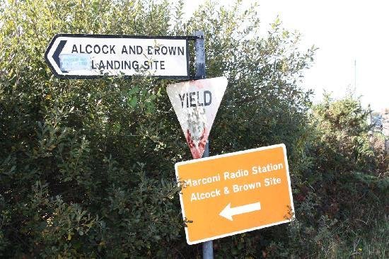 Clifden, Ireland: Alcock &amp; Brown sign on R341