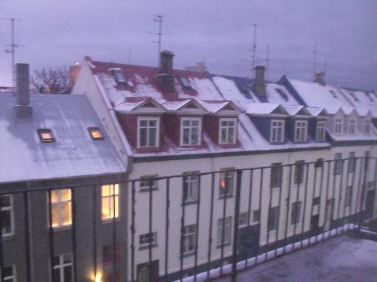 Metropolitan Hotel: the snow covered roof-tops of 101 from the 4th floor