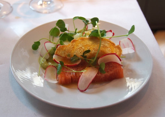 La Trompette: a salmon starter - melt in the mouth