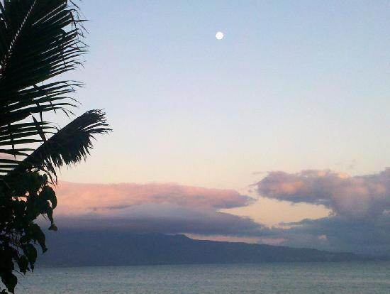Maui Beachcomber: Full moon after daybreak