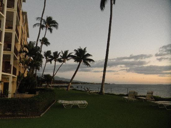Kihei Beach: southern view from our condo at sunset