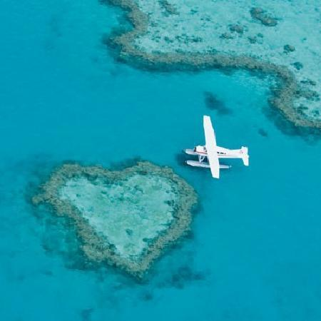 Great Barrier Reef, Australia: Seaplane at Heart Reef in Hardy Lagoon