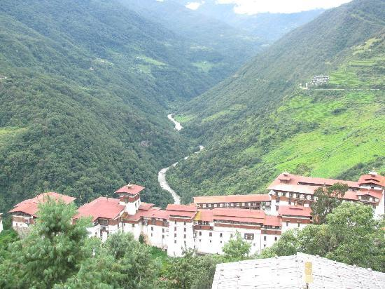 view of the hotel from above Trongsa Dzong
