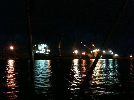 Ponta Delgada from the Sea at night