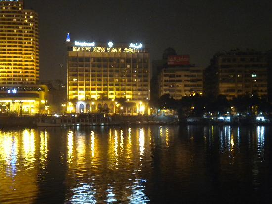 Shepheard Hotel: view of hotel from across Nile