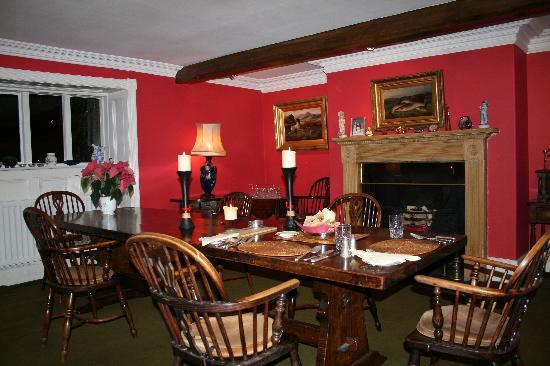 Newburgh House - Coxwold: Our cosy red dining room where we offer dinner on request