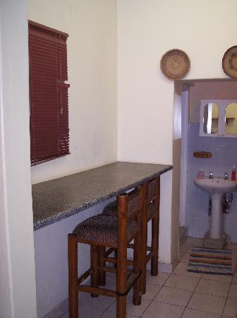 Pretoria Backpackers and Travellers Lodge: Kitchenette looking toward bathroom of annex room