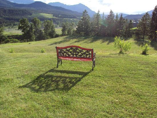 Inn Heaven Bed and Breakfast: Back Yard Bench. What a view!!!!