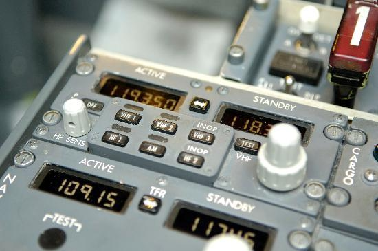 Hounslow, UK : Radio Panel in Boeing 737-800 Flight Simulator