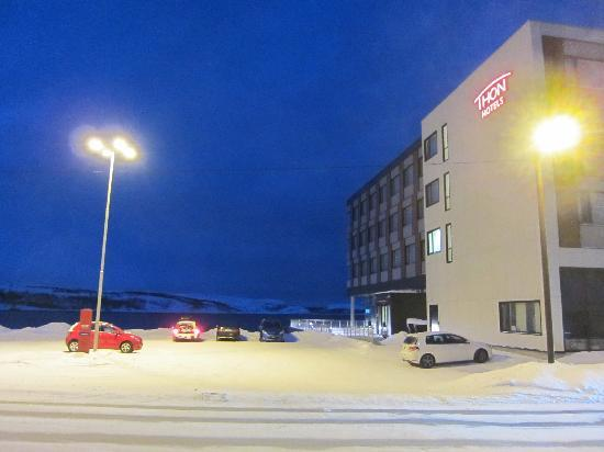 Thon Hotel Kirkenes: View of hotel and view beyond - Jan 2011