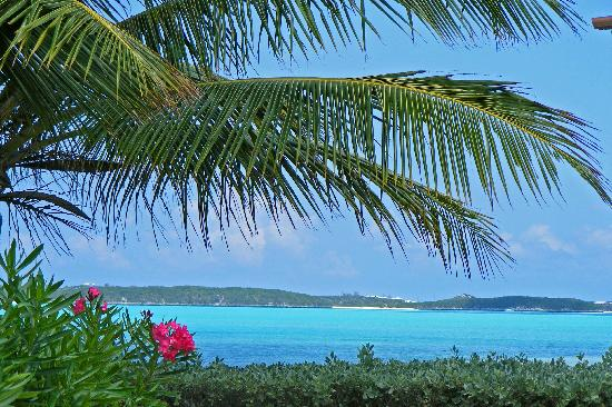 George Town, Great Exuma: view of Stocking Island from beach club