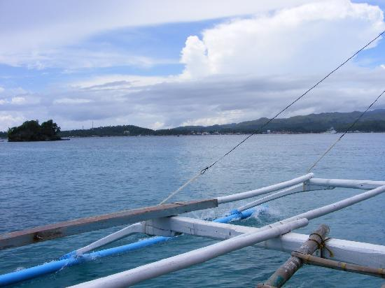 Boracay Regency: The trip across to the island on an outrigger