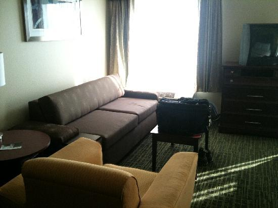 Hawthorn Suites by Wyndham Cedar Rapids: Seating area, nice couches/chairs