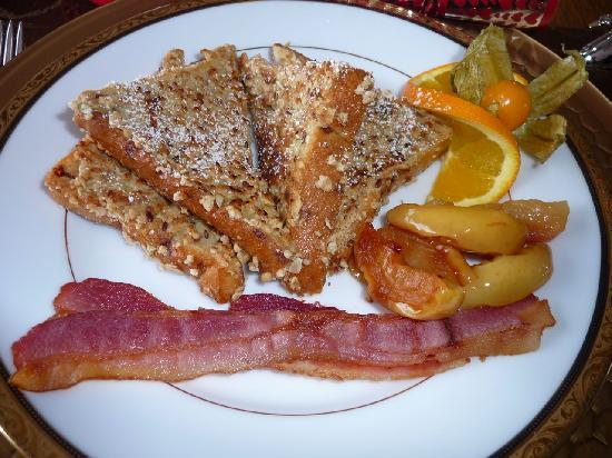 MacQueen's Manor Bed &  Breakfast: An unusual but incredible french toast.
