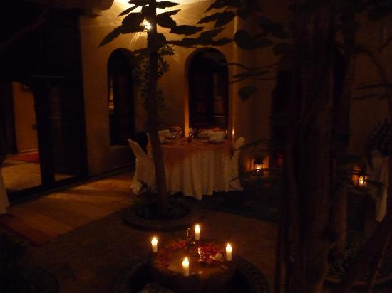Riad Dama: Candles, rose petals and courtyard dining set the scene for a fun and entertaining evening