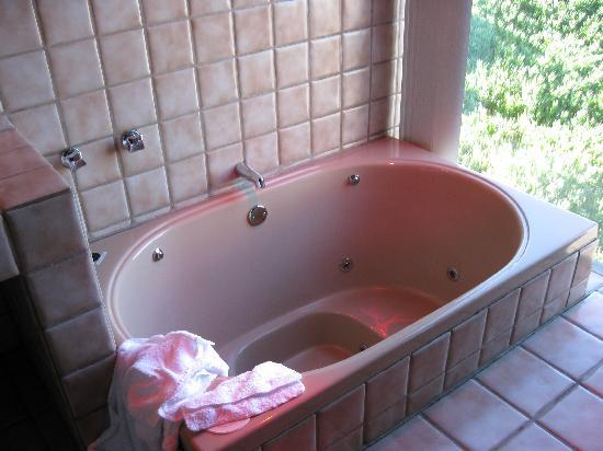 Timber Cove Inn: Very deep spa tub - overlooking back door to kitchen and ocean