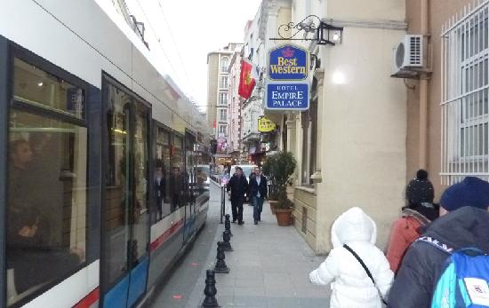 BEST WESTERN Empire Palace: Tram passing Empire Palace