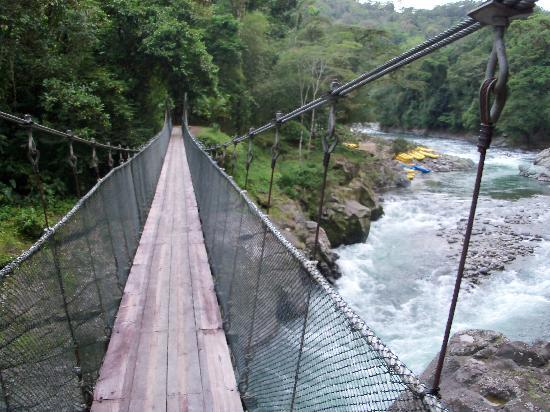 Rios Tropicales Lodge: Suspension bridge over river
