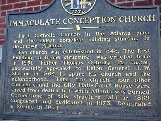 The Catholic Shrine of the Immaculate Conception: Historic Sign