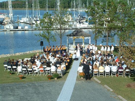 Inn at Osprey Point: A 180 guest Fall waterfront wedding on the Inn's front lawn