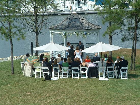 Inn at Osprey Point: A small, intimate wedding on the front lawn of the main Inn.