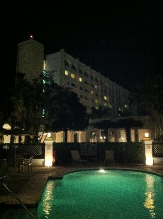 InterContinental Hotels Real San Salvador: The Intercontinental Real seen from the pool area at night.