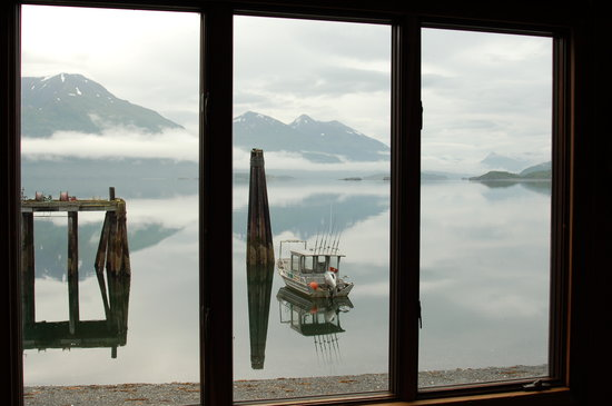 Spirit of Alaska Wilderness Adventures Lodge: View from bunk house window (always something playing on the nature channel)