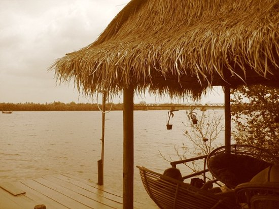Kampot, Cambodia: The river at Ollys place