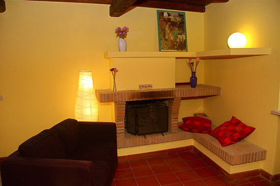 Antica Posta Guest House: Lounge room with fireplace
