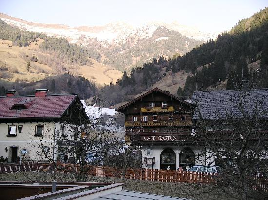 Dorfgastein, Austria: View from balcony of bottom of piste