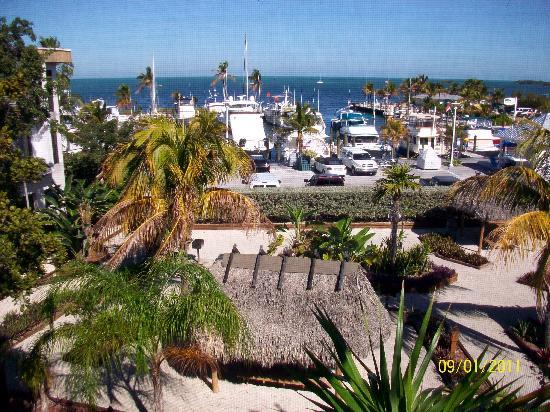 Marathon Key Beach Club: Looking from our balcony over BBQ area to marina and ocean