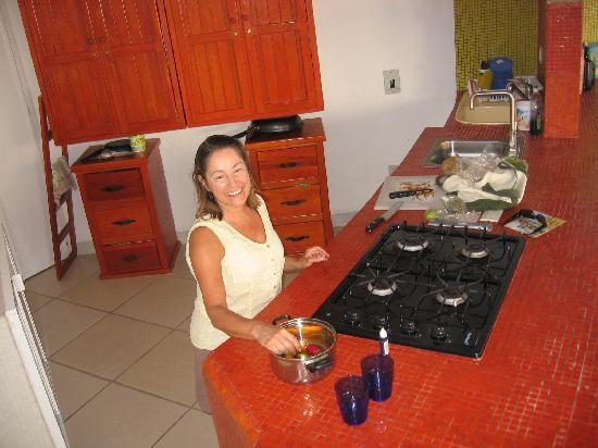 Villa Lili: Me cooking dinner in the kitchen
