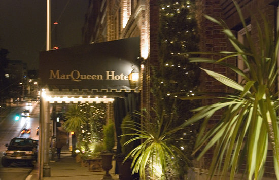 MarQueen Hotel Entrance at Night