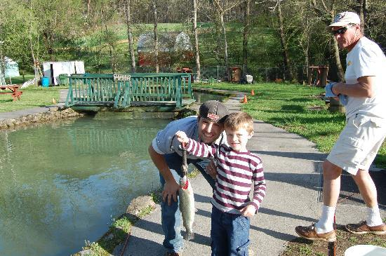 His first rainbow trout picture of english mountain trout farm grill sevierville tripadvisor - Trout farming business family mountains ...