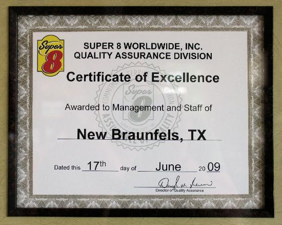 ‪‪Super 8 - New Braunfels, TX‬: Excellence is a Standard !!‬