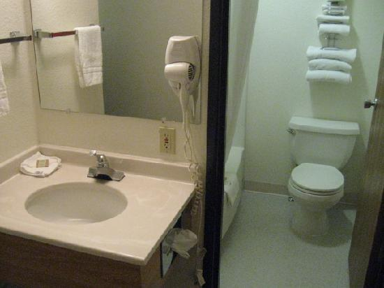 Super 8 Billings: Sink in room and tub and toilet in separate room