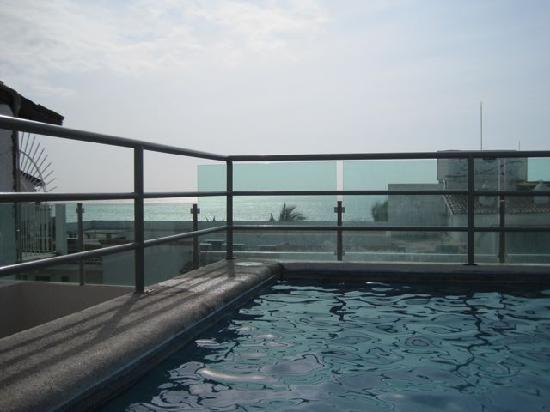 Hotel Portonovo Plaza: The pool &amp; view from the top