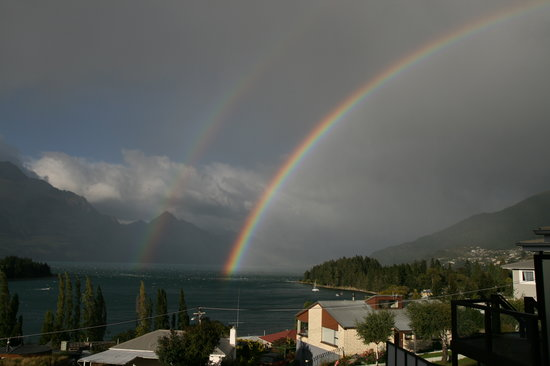 Earnslaw Lodge: View from our balcony - what rainbows!