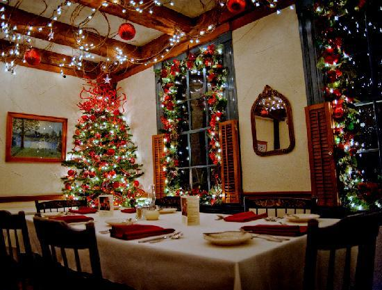 Christmas decorations in dining room at inn picture