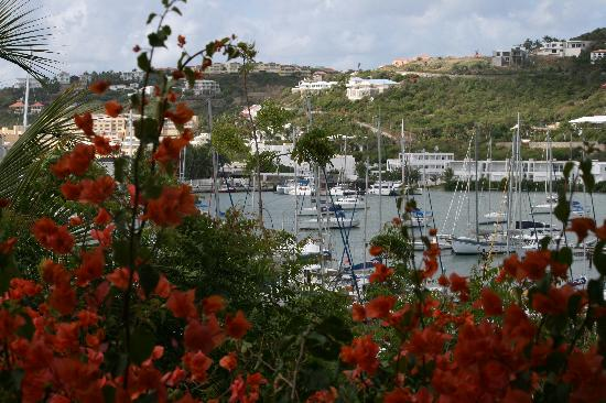 Oyster Pond, St Maarten-St Martin: Marina and hillside from the patio