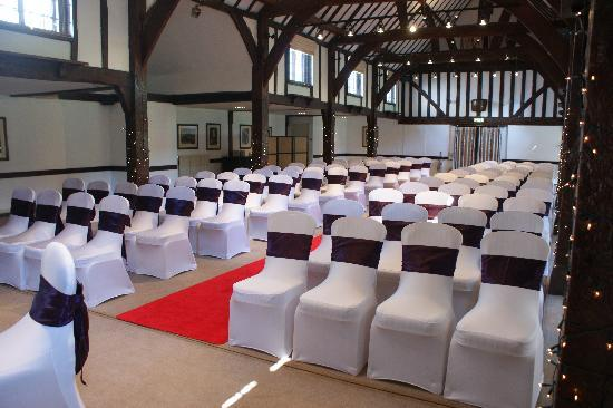 Mercure Box Hill Burford Bridge Hotel: The Tithe Barn set up for our wedding ceremony