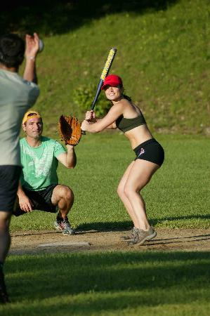 Kent, : A fun softball game at Club Getaway